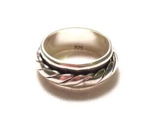 925 sterling sliver rotational rope ring
