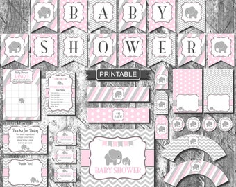 Pink and Grey Girl Elephant Baby Shower Decorations Package Digital Printable PDFs Instant Download-Baby Shower
