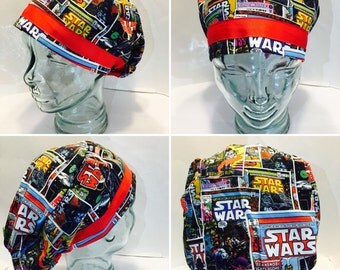 Scrub Cap or Chemo Cap-European Stars Wars Hat Adorned Red Trim