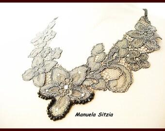 Metallic Lace Black Fabric Necklace Original Elegant Crystal Means