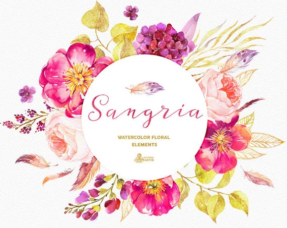 Sangria Burgundy and gold floral Elements watercolour
