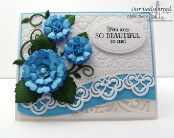 Handmade Card, Greeting Card, Anniversary Card, Hand Sewn Card, You are so Beautiful, Birthday Card,