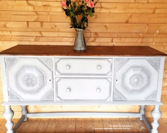 SOLD-COMMISSION-EDWARDIAN Oak Sideboard Hand Painted in Chalk Paint  of choice