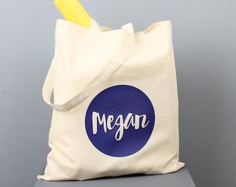Name Tote Bag - Personalised Bag - Bright Script Font - Colour Pop Bag - Shopping Bag - Grocery Bag - Book Bag