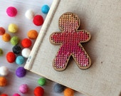 Stitch Your Own Ombre Person Brooch - Pink Gradient Embroidery Kit - DIY Cross Stitch Human Kit