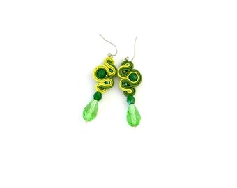 Lime green earrings, green dangles, crystal earrings, soutache earrings, gift for her, bohemian earrings, long boho dangles