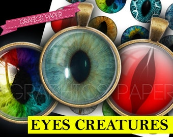 """Digital Collage Sheet, Eyes images 25mm circles, 1 inch, 1.5"""", 1.25"""", 30mm circle Images Glass & Resin for Pendants cabochon cameo td177"""