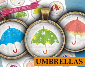 "Umbrellas- digital collage sheet - td388 - 1.5"", 1.25"", 30mm, 1 inch - Circles for bottlecaps - DIY Printable - INSTANT DOWNLOAD"