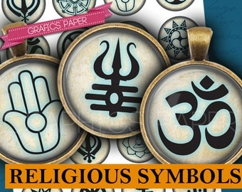 """Religious Symbols Circle Digital Collage  Sheet - td392 - 1.5"""", 1.25"""", 30mm, 1 inch, 25mm Round Instant Download Circle for pendants"""