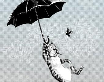Cat Umbrella Print