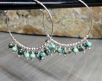 African Turquoise Sterling Silver Hoops, Boho jewelry, Bohemian, Tribal earrings
