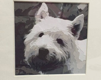 Westie 8 Layer Greyscale Paper Cut **Print and Cut Yourself**