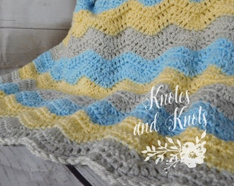 Baby crochet blanket -  blue yellow and gray baby blanket - baby boy baby bedding - nursery decor - crib blanket