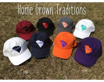Home Grown Traditions // South Carolina SC Home Embroidered Hats in various colors // SC, South Carolina