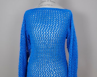 Blue mesh Hand knitted sweater