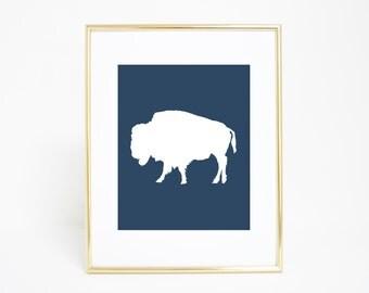Minimalist Wall Art, Navy Blue Buffalo Print, Bison Print, Buffalo Art, Printable Art, Digital Print, Bison Wall Art, Downloadable Print