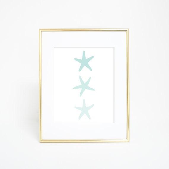 Mint Starfish, Wall Art Print, Coastal Art, Coastal Decor, Nautical Print, Coastal Prints, Mint Print, Starfish Art print, Starfish Artwork
