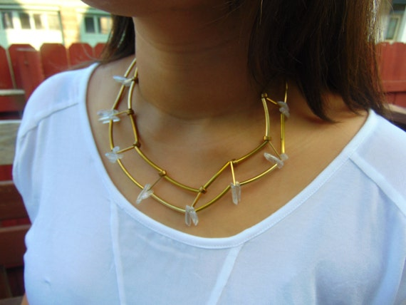 Geometric Necklace/ Clear Quartz & Gold Choker