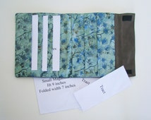 stenciled flowers tract holder, JW ministry organizer, JW magazine holder, Jehovah Witness field service, LDS missionary, upcycled denim