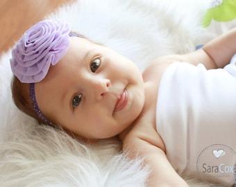 Lavender Chiffon Rose Flower Headband Photo Prop