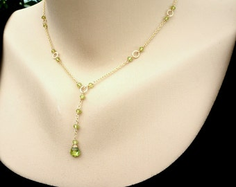 Y necklace,Peridot Necklace,August Birthstone,Dainty Necklace,Green Necklace