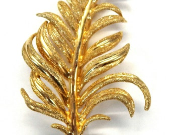 14k Yellow Gold Hammered texture Leaf Brooch #262400658370