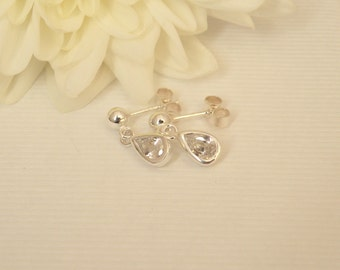 Sterling silver and cubic zirconia teardrop earrings