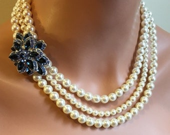 Navy Blue Pearl Necklace with LONG Earrings in SILVER Navy Blue Rhinestone Brooch 3 strand Swarovski Pearls wedding mother of the bride set