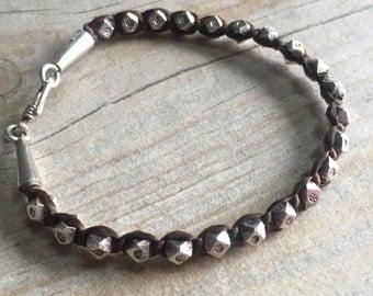 Silver beads bracelet, handmade silver bracelet, macrame and silver bracelet, chunky silver bracelet