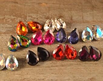 "1"" pear Swarvoski earrings."