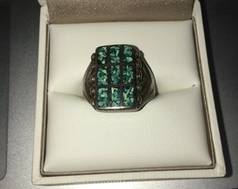 Vintage Sterling Silver Turquoise Inlay Ring Size: 9.5