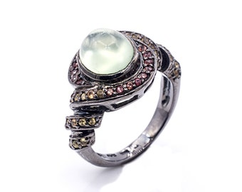 Exotic Prehnite ring with Orange and Yellow Sapphire