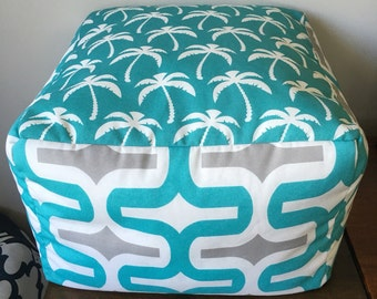 Palm Aqua Coastal Outdoor/Indoor Pouf Ottoman