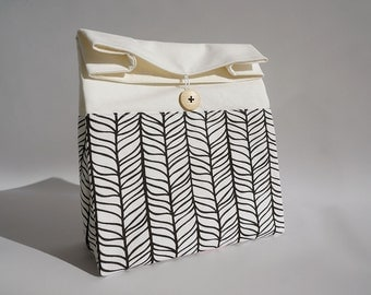 Lunch bag for women / Reusable lunch bag / Black and white lunch bag with handle / Sac déjeuner