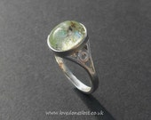 Cremation Jewellery, Sterling Silver Glass Infused Ring sizes J-R
