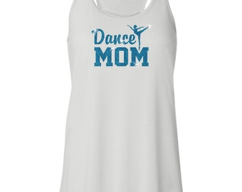 Dance Mom Dancing Glitter Dancer Women's Flowy White Racerback Tank Top
