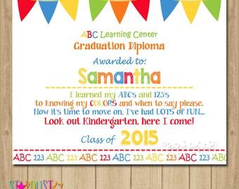 Preschool graduation certificate | Etsy