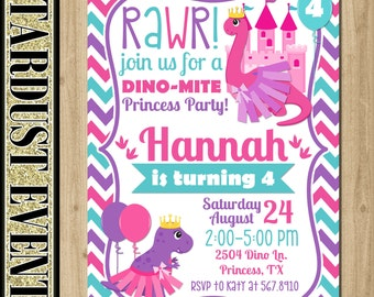 Girl Dinosaur Invitation, Dinosaur Princess Birthday Invitation, Girl Dinosaur Invitation, Dinosaur Invitation, Dinosaur Tutu Invitation