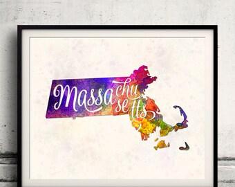 Massachusetts - Map in watercolor - Fine Art Print Glicee Poster Decor Home Gift Illustration Wall Art USA Colorful - SKU 1764
