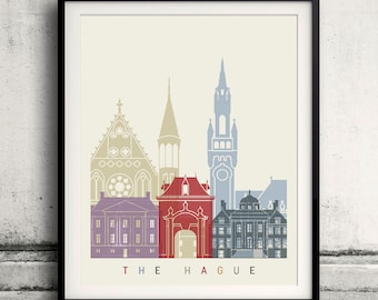 The Hague skyline poster - Fine Art Print Landmarks skyline Poster Gift Illustration Artistic Colorful Landmarks - SKU 2252