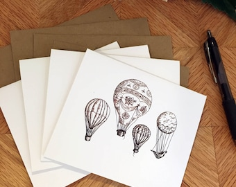 folded notecards, set of 4 with envelopes, hot air balloons