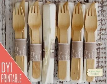 Napkin wraps, printable napkin holders, initials napkin rings, DIY napkins holders, Digital delivery, INSTANT DOWNLOAD