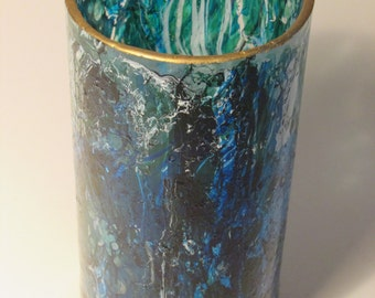 Blue Waves Painted Glass (single)