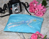 Nice clutch with swimmer pattern, blue swimsuit, cotton and linen pouch, zipper, hand drawing watercolor