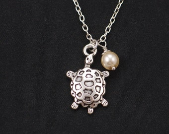 turtle necklace, Swarovski pearl choice, long necklace option, silver turtle charm on silver plated chain, sea turtle, terrapin,nature lover