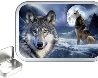 Wolf Moon 1oz silver hinged tobacco tin,pill box,storage tin