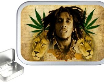 Bob Marley Lion 1oz silver hinged tobacco tin,pill box,storage tin