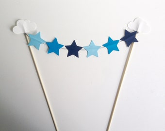 Clouds and Stars Birthday Party Bunting Cake Toppers