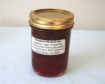 Strawberry Rhubarb Jam Half-Pint, 8oz, Central Ohio Local Delivery or Pick-Up Only