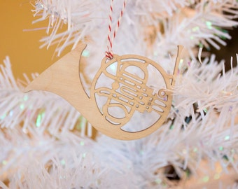 French Horn Ornament - Wood Ornament - Christmas Ornament